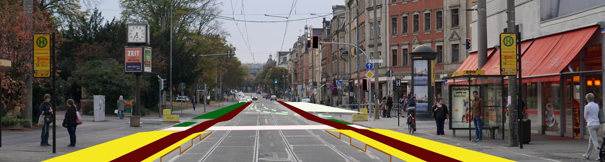 Boulevard Löbtau mit reduzierter Streifenzahl